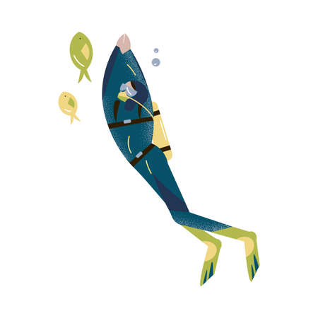 Scuba diver swimming underwater and diving with fishes in deep-sea or ocean. Vector illustration in the flat cartoon style. Vectores