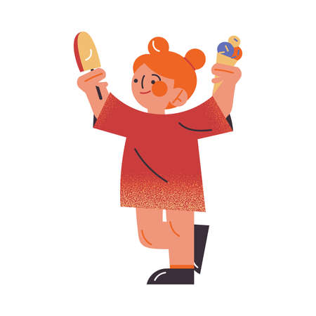 Cute red-haired girl in a red dress holding ice cream in raised hands. Funny happy smiling children eating ice cream concept. Isolated vector icon illustration on a white background in cartoon style. Ilustração