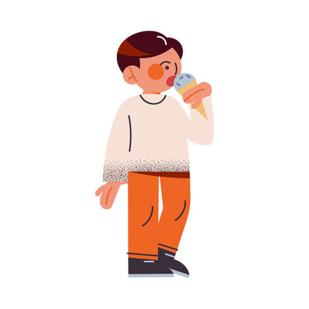 The funny young boy in orange pants eating ice cream. Vector illustration in the flat cartoon style.