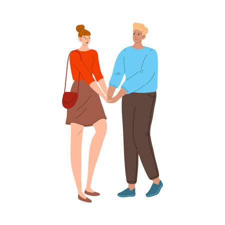 Hand drawn young smiling couple in love dating, meeting and holding hands vector illustration