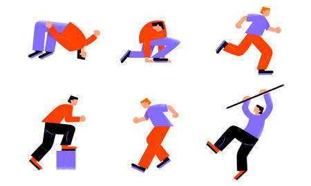 People sportsmen practicing athletics and pole vaulting vector illustration