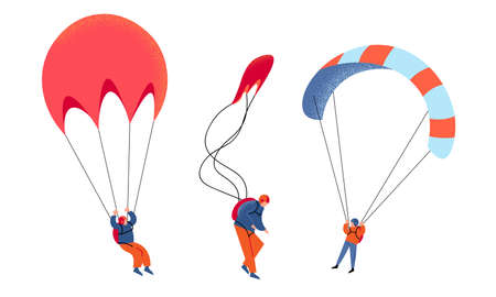 Set of young people skydivers with parachutes vector illustration
