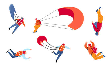 Set of young people skydivers with parachutes enjoying levitation vector illustration