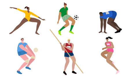 Young people sportsmen in different kinds of sport during competitions vector illustration Vektoros illusztráció