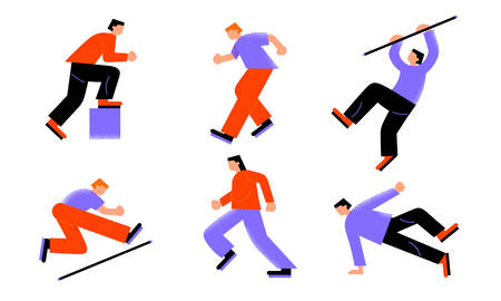 People sportsmen competing in athletics and pole vaulting vector illustration