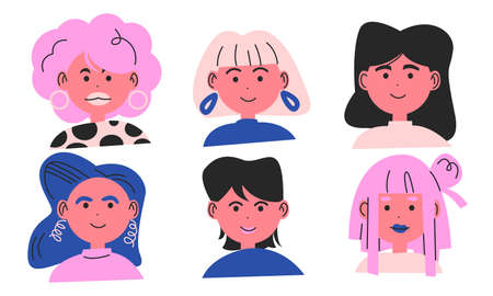 Set of female faces with different hairstyles and colors illustration Иллюстрация