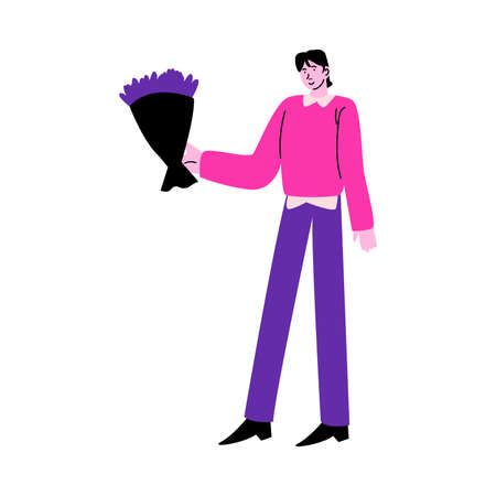 Man carrying bouquet of fresh purple flowers to give to his girlfriend
