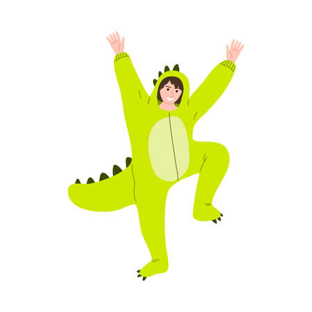 Happy smiling teenage boy posing in a colourful dinosaur party costume. Vector illustration in flat cartoon style.