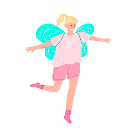 Cute smiling little girl with wings dancing in a pink t-shirt. Vector illustration in cartoon style.
