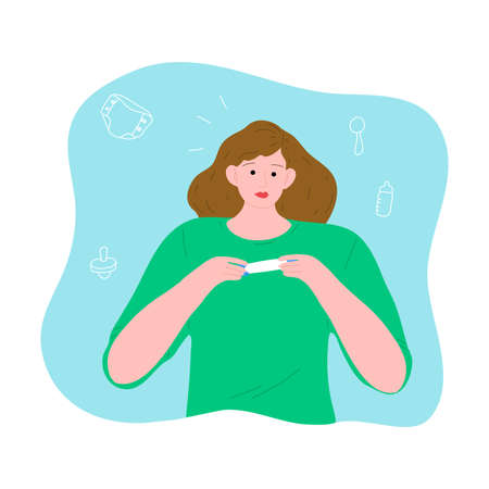Surprised woman in a green shirt holding a positive pregnancy test. Vector illustration in the flat cartoon style