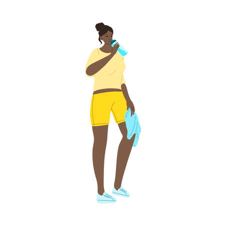 Fitness girl drinking water from the bottle after sport exercises. Vector illustration in cartoon style.