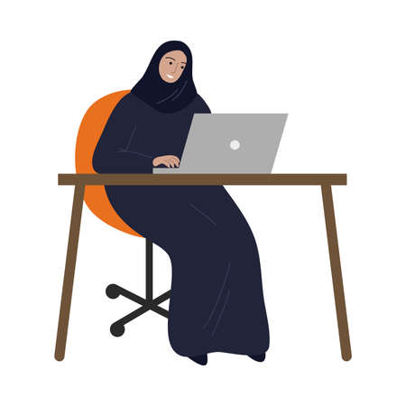 Muslim business woman in traditional ethnic hijab working with the laptop. Vector illustration in the flat cartoon style.