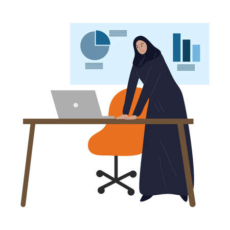 Muslim business woman in traditional ethnic hijab working in the office. Vector illustration in the flat cartoon style Vectores