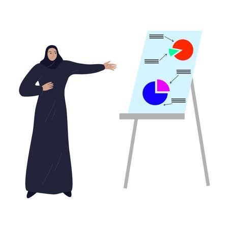Muslim business woman standing near presentation board. Vector illustration in the flat cartoon style.
