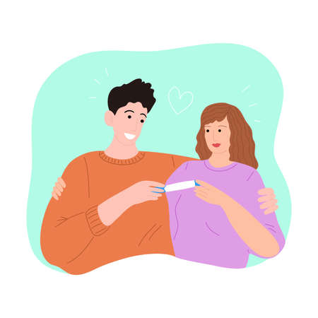 Happy hugging couple with a positive pregnancy test. Vector illustration in the flat cartoon style. Illustration
