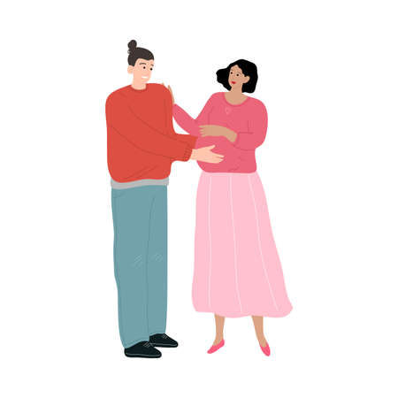 Happy smiling father embracing the belly of his pregnant wife. Vector illustration in the flat cartoon style. Illustration