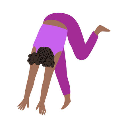 Black-haired woman in pink sportswear doing headstand yoga exercise together. Vector illustration in cartoon style.