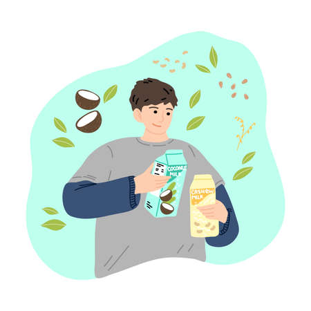 Black-haired smiling man with vegetarian lactose free milk in carton boxes. Vector illustration in cartoon style Ilustracja