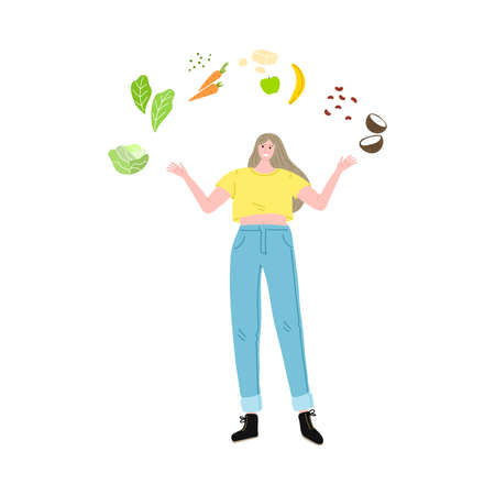 Happy smiling vegetarian girl in a yellow t-shirt with fresh vegetables and fruits. Vector illustration in cartoon style Vecteurs