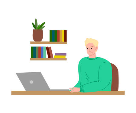 Young freelance man working at home sitting with laptop in his room. Vector illustration in cartoon style.