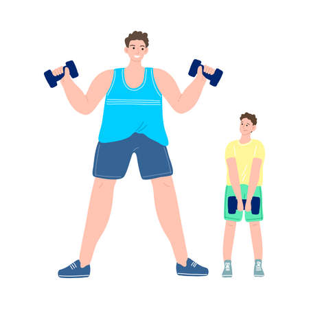 Happy smiling father and son exercising with dumbbells. Vector illustration in cartoon style.