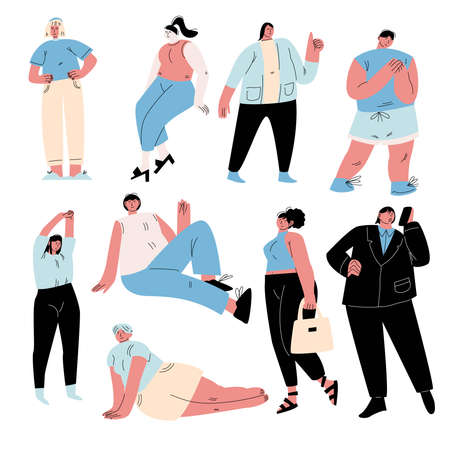 Set of body positive funny different overweight people in casual clothes. Vector illustration in flat cartoon style.