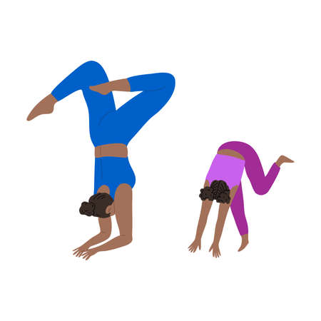 Young mother and daughter doing headstand yoga exercise together. Vector illustration in cartoon style.