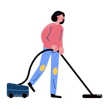Woman vacuuming carpet and staying at home during quarantine and pandemic of coronavirus
