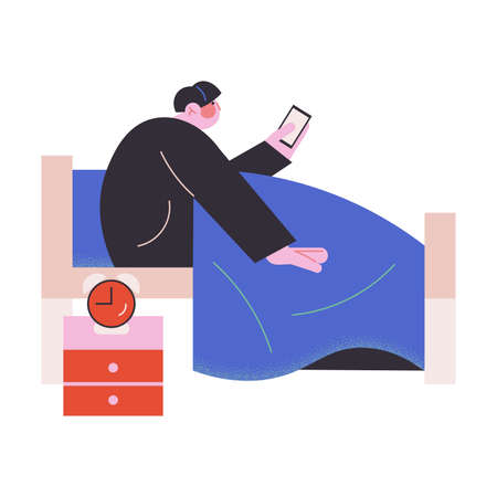 Young man waking up and checking social networks in bed vector illustration Vettoriali