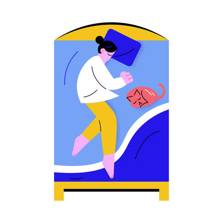Woman sleeping in big bed with blue linens at home with cat vector illustration Ilustrace