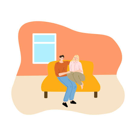 Young couplefeeling happy on coach in their new apartment Illustration