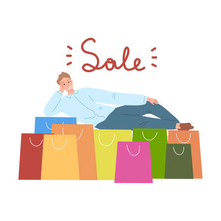Young man lying near heap of colorful shopping bags with lettering sale Illustration