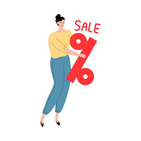 Young woman holding lettering sale and discount percent Illustration