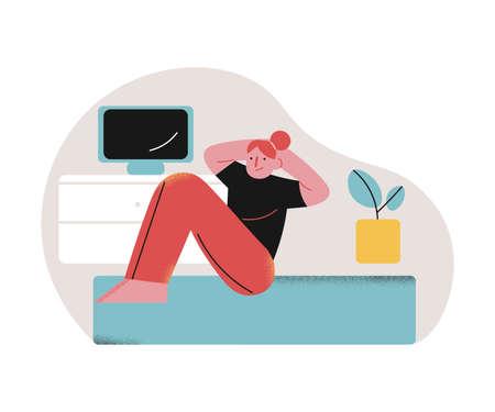 Girl doing morning sports exercises on floor at home during coronavirus pandemic 版權商用圖片 - 147918906