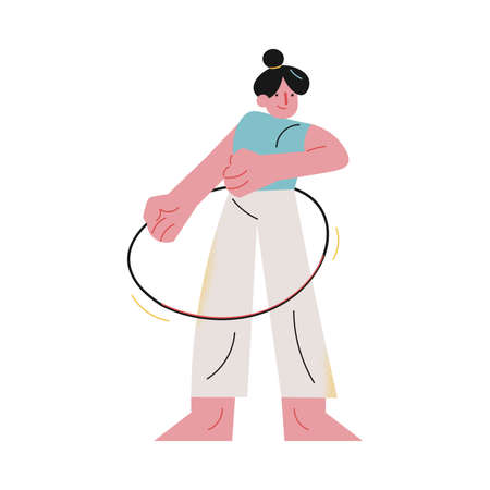 Young woman making sport exercices with hoop at home during coronavirus pandemic 版權商用圖片 - 147918911