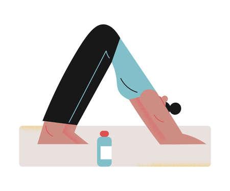Girl doing morning yoga at home during coronavirus pandemic 向量圖像