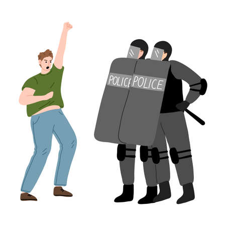 Young man activist getting police resistance during strike for human rights