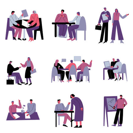 Business people having job meeting and negotiations in office vector illustration
