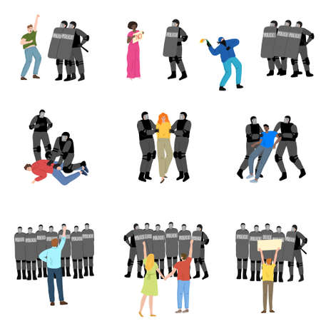 eople getting police resistance during strikes for human rights vector illustration
