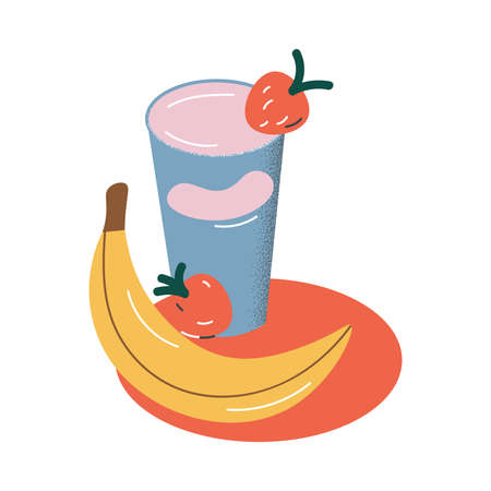 Fresh healthy breakfast set with fruits smoothie and banana