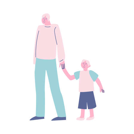 Father with son standing in queue and holding hands