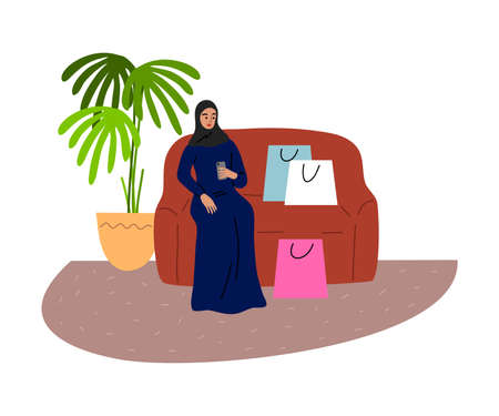 Muslim girl sitting on the sofa with shopping bags and holding the phone. Vector illustration in flat cartoon style