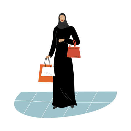 Muslim girl in a traditional ethnic black hijab standing with shopping bags. Vector illustration in flat cartoon style.