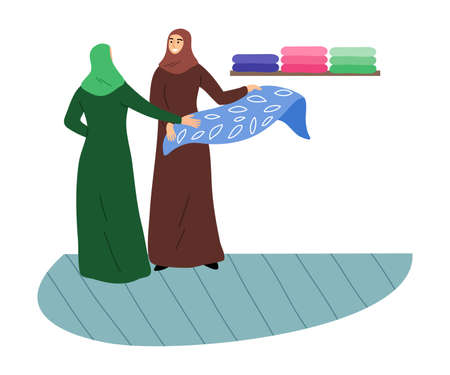 Muslim girls in a traditional ethnic hijab choose fabrics in the store. Vector illustration in flat cartoon style. Çizim