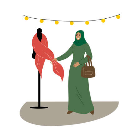 Muslim girl in a traditional ethnic green hijab choose fabrics in the store. Vector illustration in flat cartoon style.