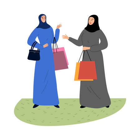 Muslim girls in a traditional ethnic hijab standing with shopping bags. Vector illustration in flat cartoon style.