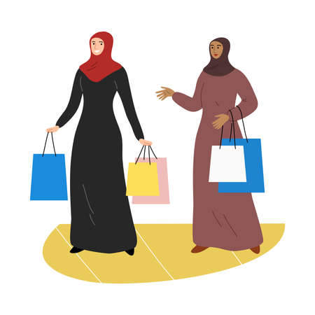 Two Muslim girls in a traditional ethnic hijab standing with shopping bags. Vector illustration in flat cartoon style.