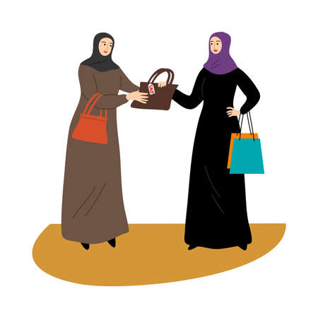 Two Muslim girls in a traditional hijab standing with shopping bags and holding bag on sale. Vector illustration in flat cartoon style.
