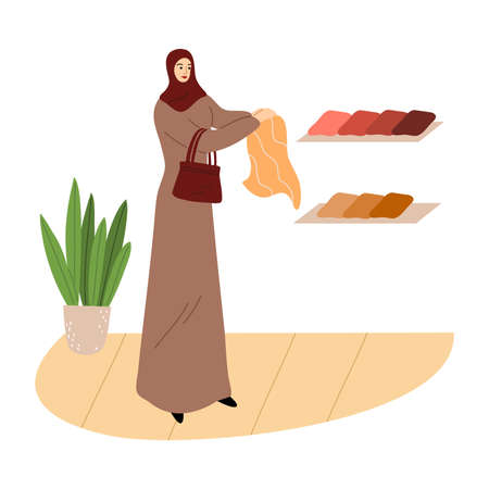 Muslim girl in a traditional ethnic brown hijab choose fabrics in the store. Vector illustration in flat cartoon style.