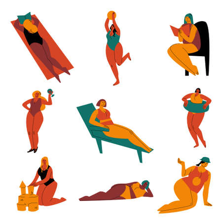 Set of curvy women in colourful swimming suits sunbathing on the beach. Vector illustration in the flat cartoon style.